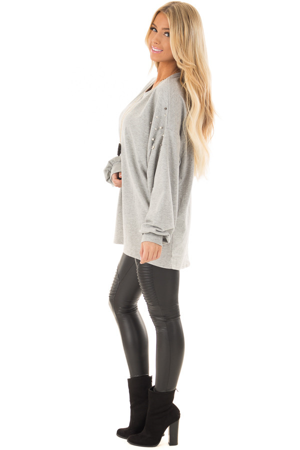 Heather Grey Oversized Sweater with Beaded Details side full body