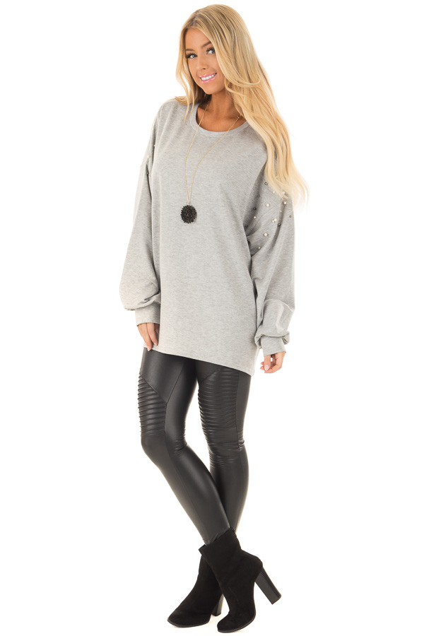 Heather Grey Oversized Sweater with Beaded Details front full body