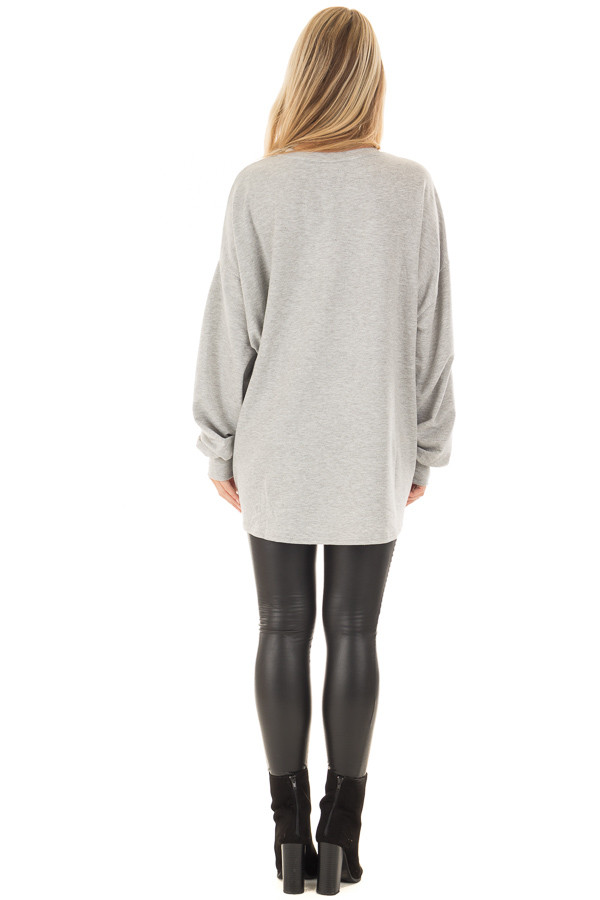 Heather Grey Oversized Sweater with Beaded Details back full body