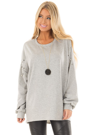 Heather Grey Oversized Sweater with Beaded Details front closeup