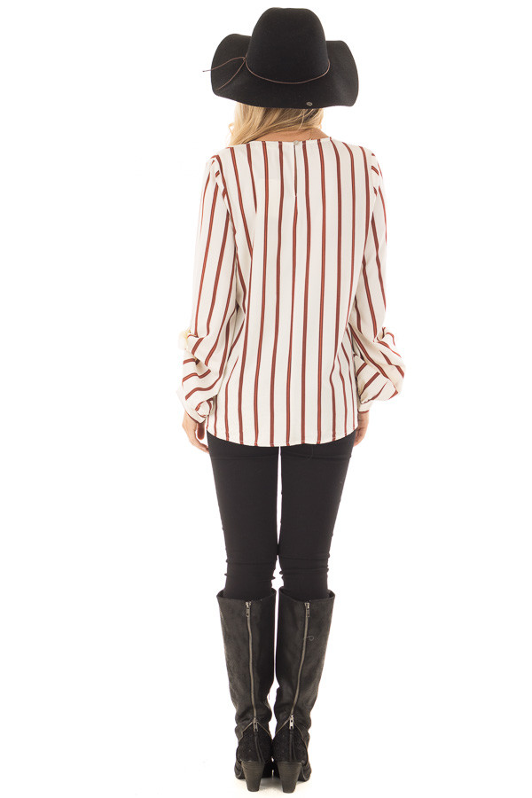 Ivory and Rust Striped Top with Sleeve Ties back full body