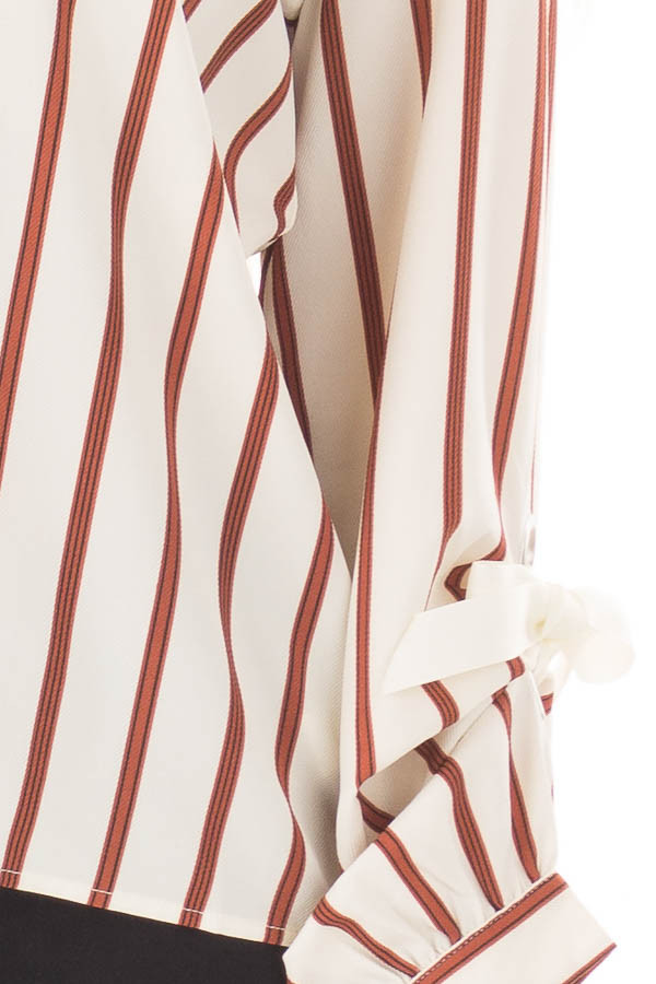 Ivory and Rust Striped Top with Sleeve Ties front detail