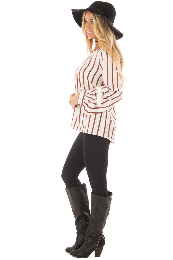 Ivory and Rust Striped Top with Sleeve Ties side full body