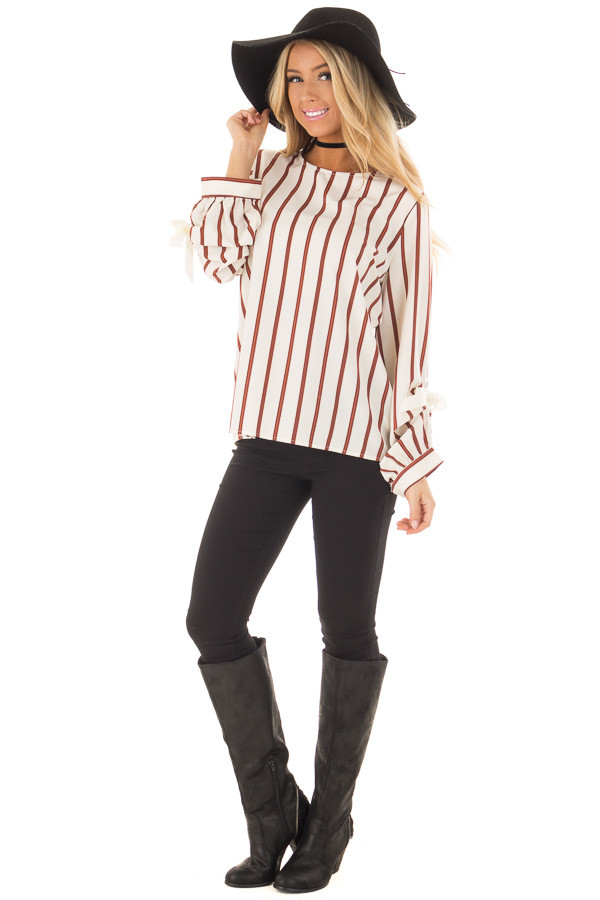 Ivory and Rust Striped Top with Sleeve Ties front full body