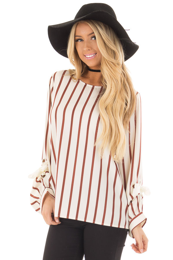 Ivory and Rust Striped Top with Sleeve Ties front closeup