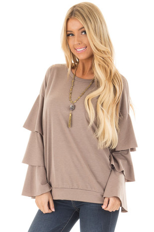 Mocha Distressed Tiered Bell Sleeve Top front closeup