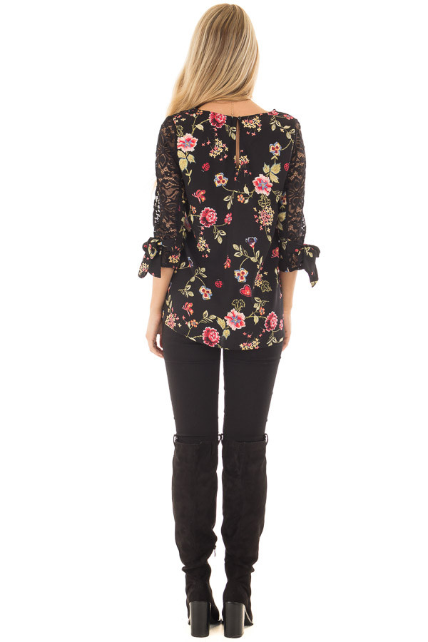 Black Floral Print Top with Sheer Lace Upper back full body