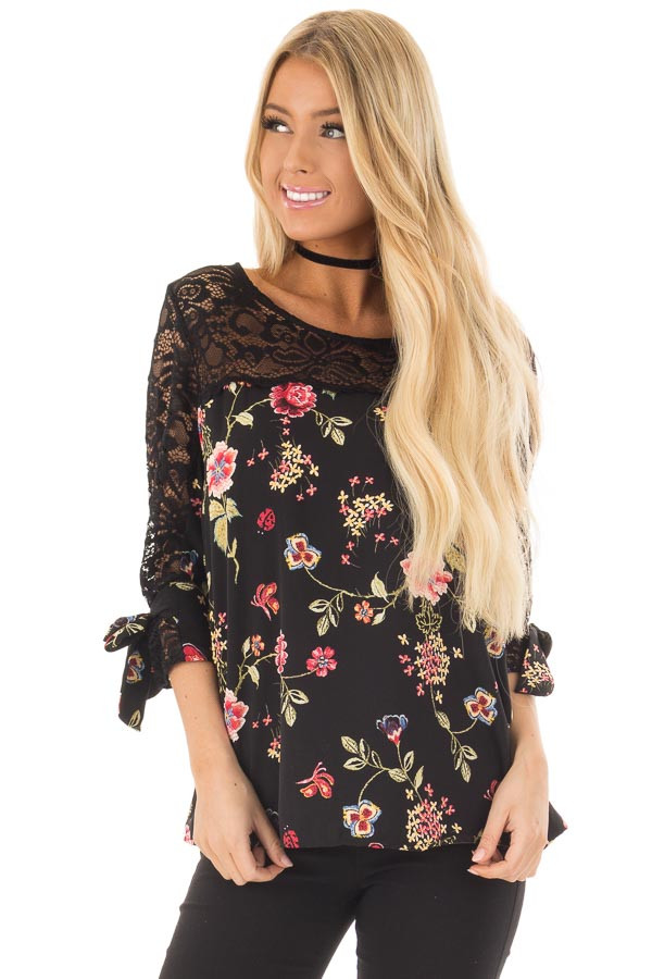 Black Floral Print Top with Sheer Lace Upper front closeup