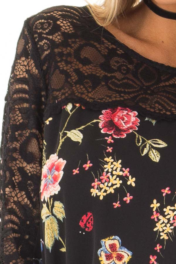 Black Floral Print Top with Sheer Lace Upper front detail