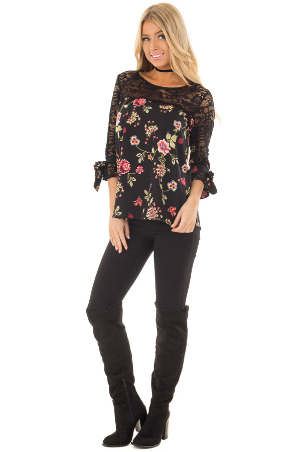 Black Floral Print Top with Sheer Lace Upper front full body
