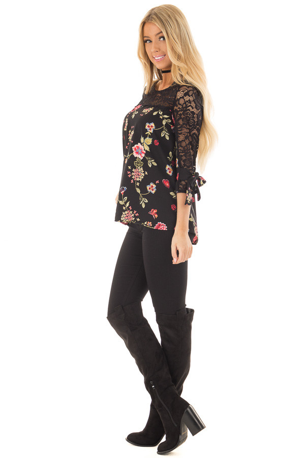 Black Floral Print Top with Sheer Lace Upper side full body
