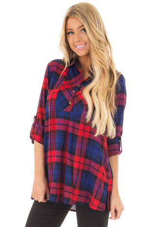 Red and Blue Plaid 3/4 Button Up Top front closeup