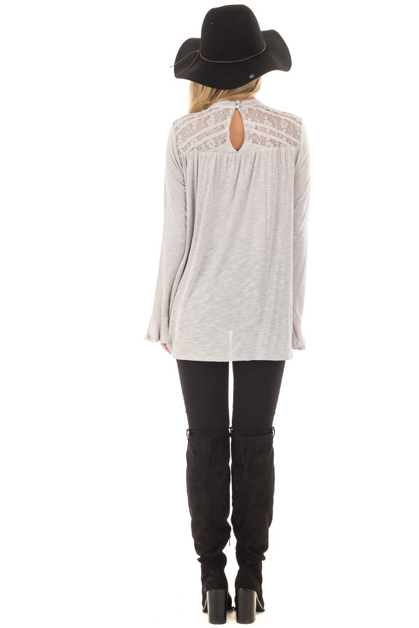 Heather Grey Top with Sheer Lace Details back full body