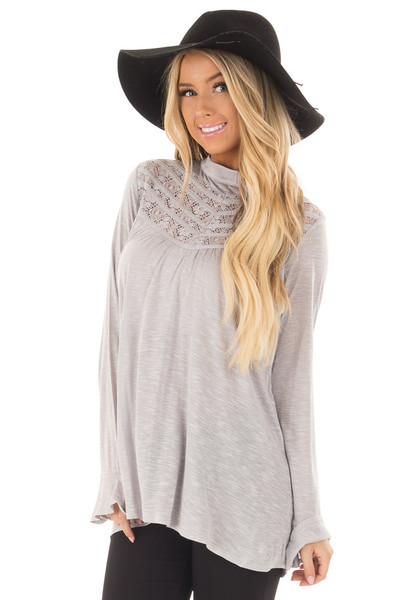 Heather Grey Top with Sheer Lace Details front closeup
