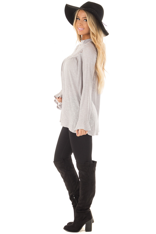 Heather Grey Top with Sheer Lace Details side full body