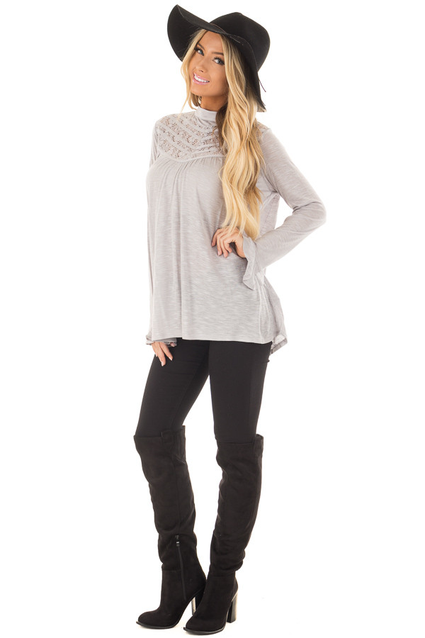 Heather Grey Top with Sheer Lace Details front full body
