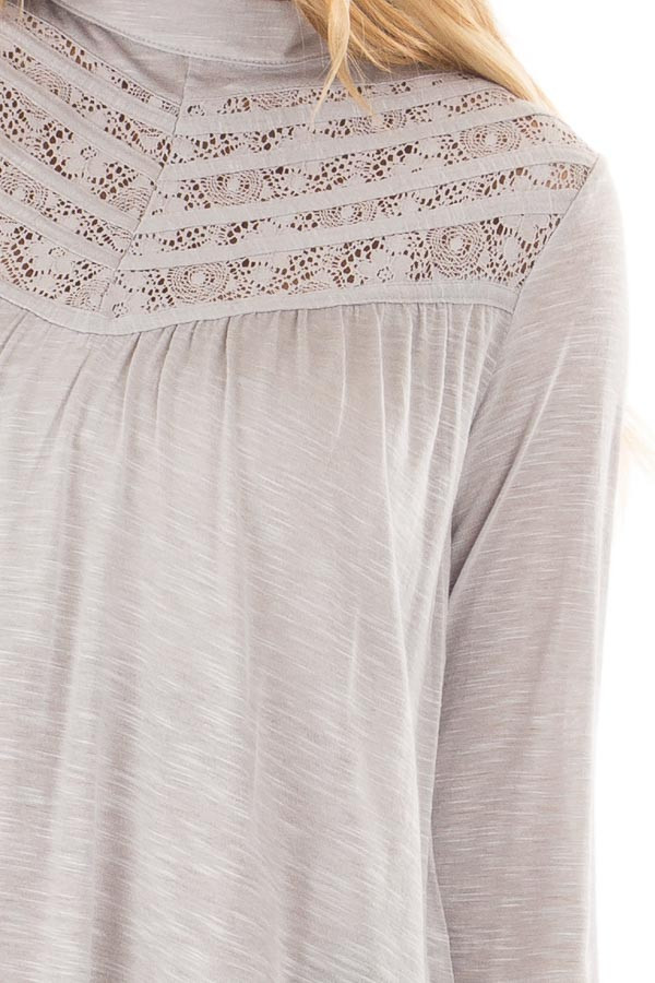 Heather Grey Top with Sheer Lace Details front detail
