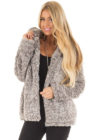 Cloud Grey Two Tone Super Soft Sherpa Zip Up Hoodie front closeup