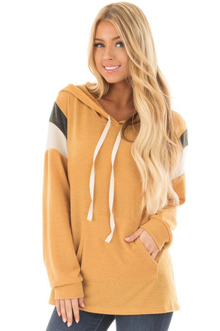 Mustard Hoodie with Stripe Details on Shoulders front closeup