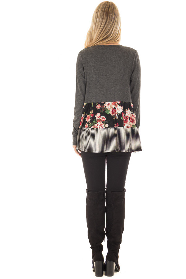 Charcoal Cardigan with Floral Print and Stripe Detail back full body