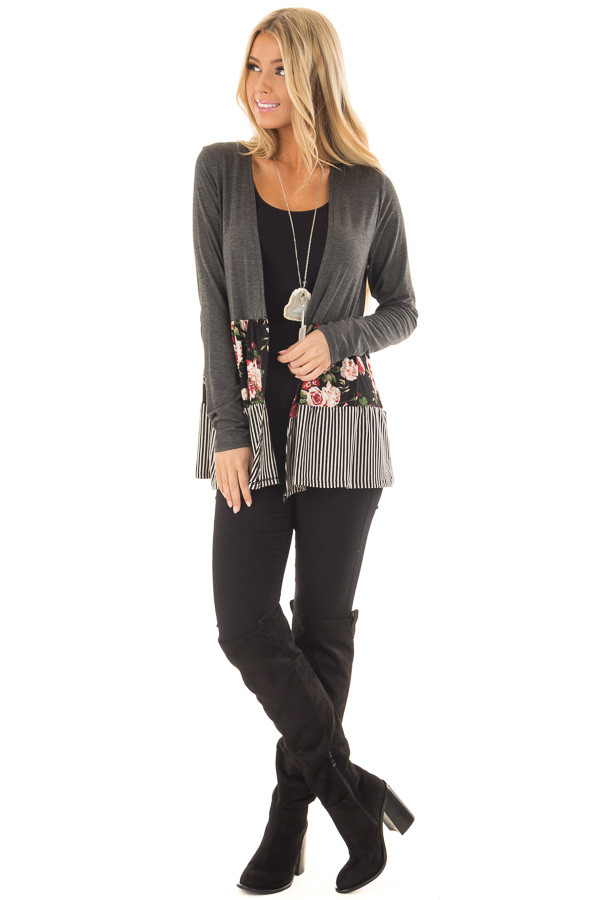 Charcoal Cardigan with Floral Print and Stripe Detail front full body
