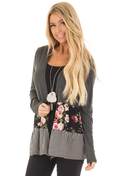 Charcoal Cardigan with Floral Print and Stripe Detail front closeup