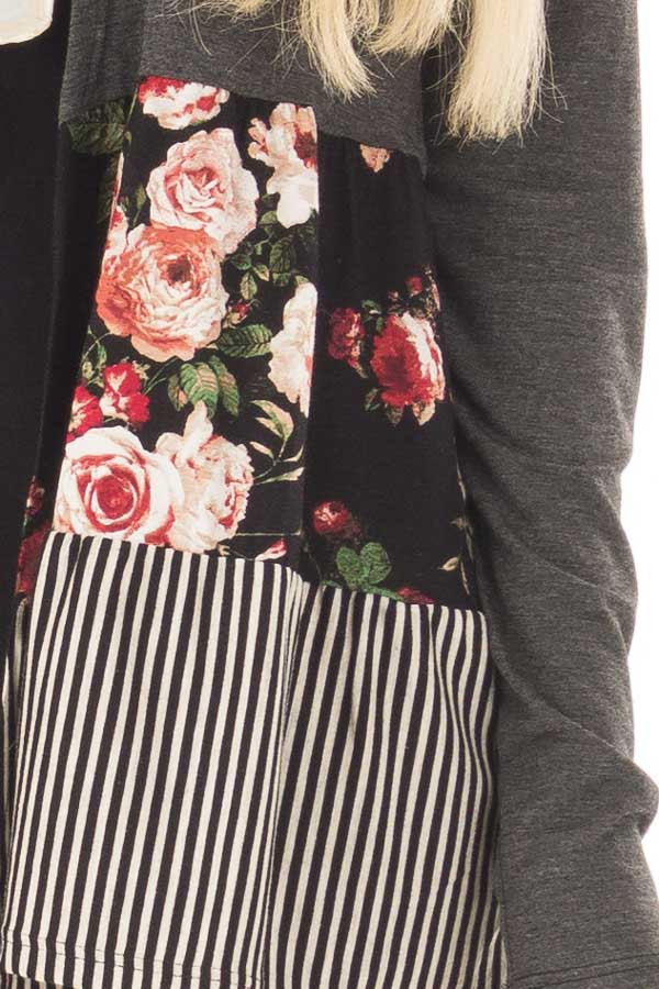 Charcoal Cardigan with Floral Print and Stripe Detail front detail