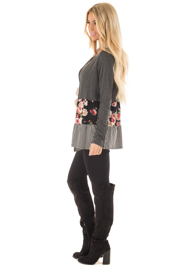 Charcoal Cardigan with Floral Print and Stripe Detail side full body