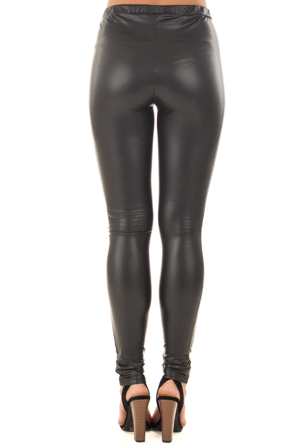 Black Faux Leather Moto Leggings back