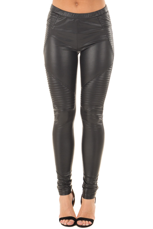 Black Faux Leather Moto Leggings front