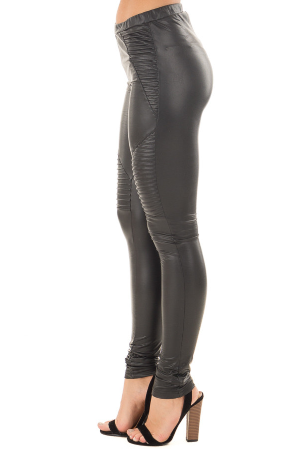 Black Faux Leather Moto Leggings right side