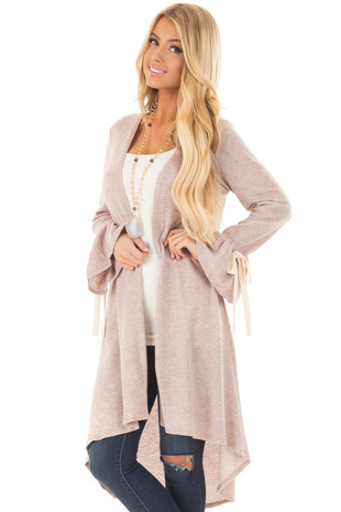 Latte Long Cardigan with Tie Details on Sleeves front closeup