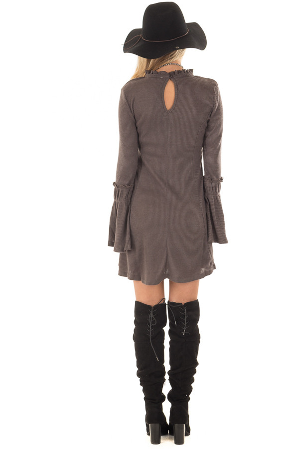 Charcoal Dress with Bell Sleeves and Ruffle Neckline back full body