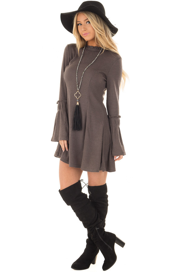 Charcoal Dress with Bell Sleeves and Ruffle Neckline front full body