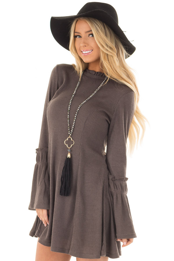 Charcoal Dress with Bell Sleeves and Ruffle Neckline front close up