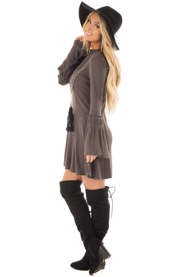 Charcoal Dress with Bell Sleeves and Ruffle Neckline side full body