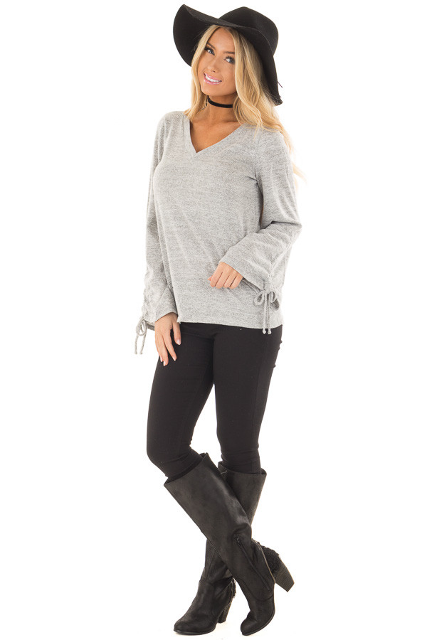 Heather Grey V Neckline Top with Wrist Ties front full body