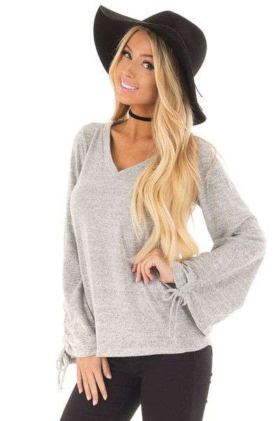 Heather Grey V Neckline Top with Wrist Ties front close up