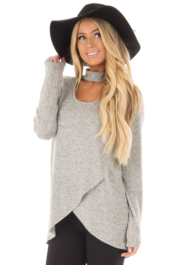 Heather Grey Wrap Top with Chest Cutout front close up