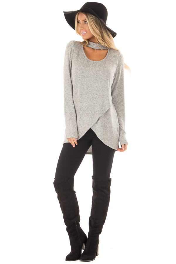 Heather Grey Wrap Top with Chest Cutout front full body