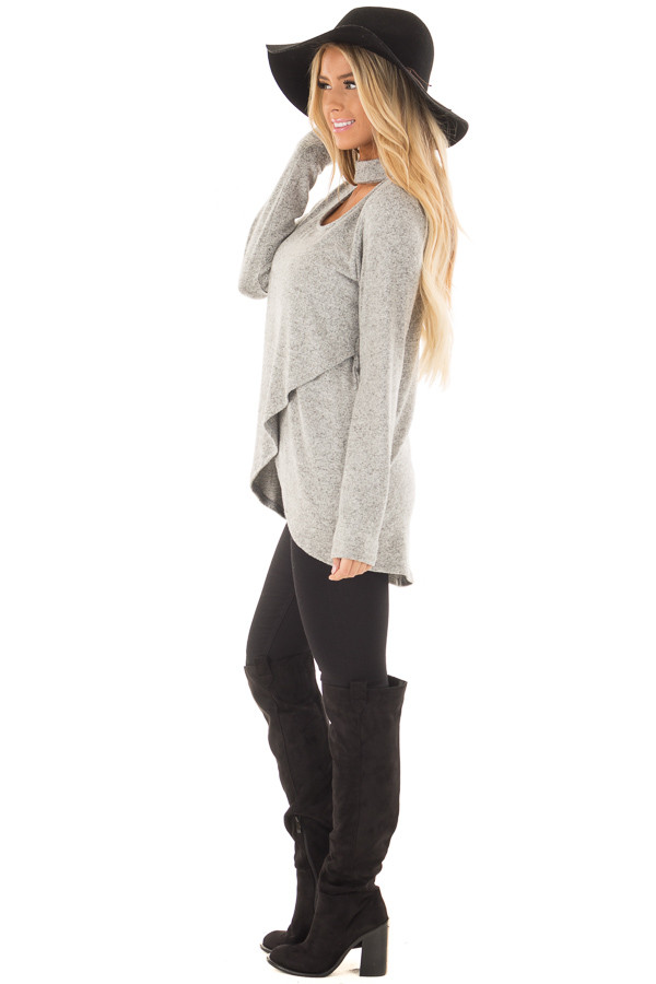 Heather Grey Wrap Top with Chest Cutout side full body