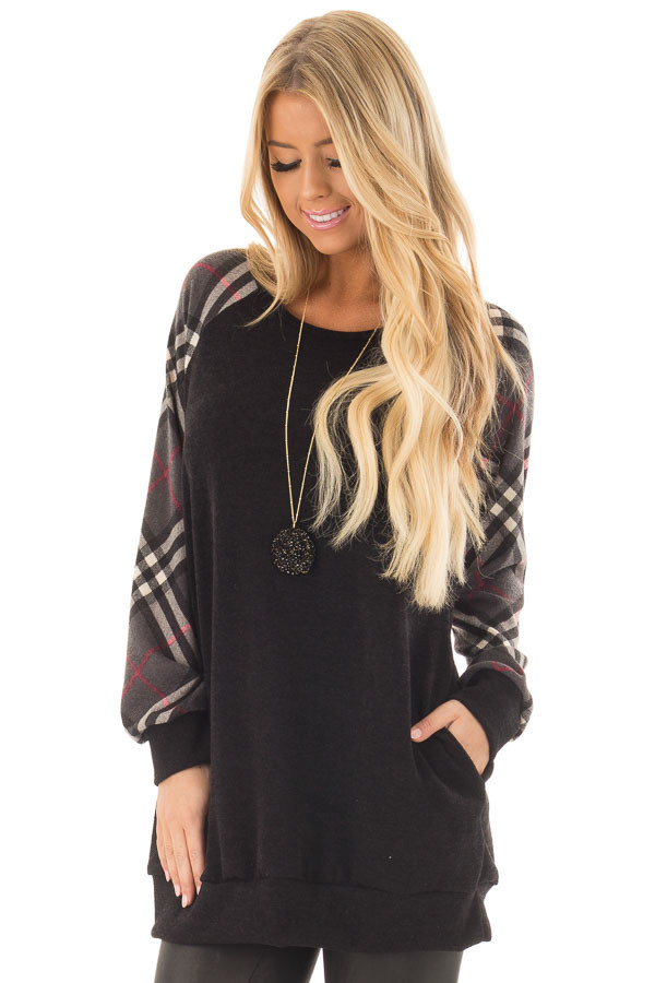 Black Tunic with Grey Plaid Sleeves and Side Pockets front close up