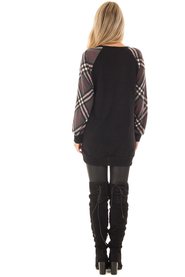 Black Tunic with Grey Plaid Sleeves and Side Pockets back full body