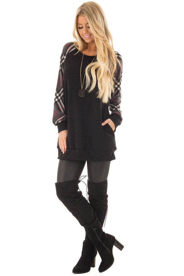 Black Tunic with Grey Plaid Sleeves and Side Pockets front full body
