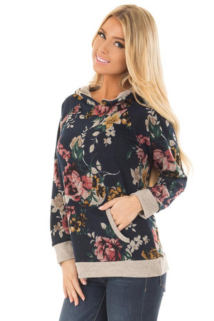 Navy Floral Print Sweater with Kangaroo Pocket front close up