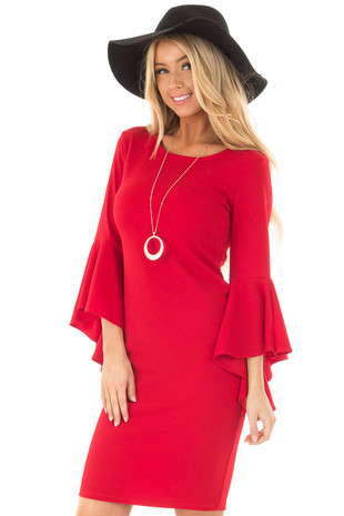 Cherry Red Form Fitting Dress with Flowy Sleeves front close up