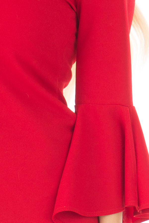 Cherry Red Form Fitting Dress with Flowy Sleeves detail
