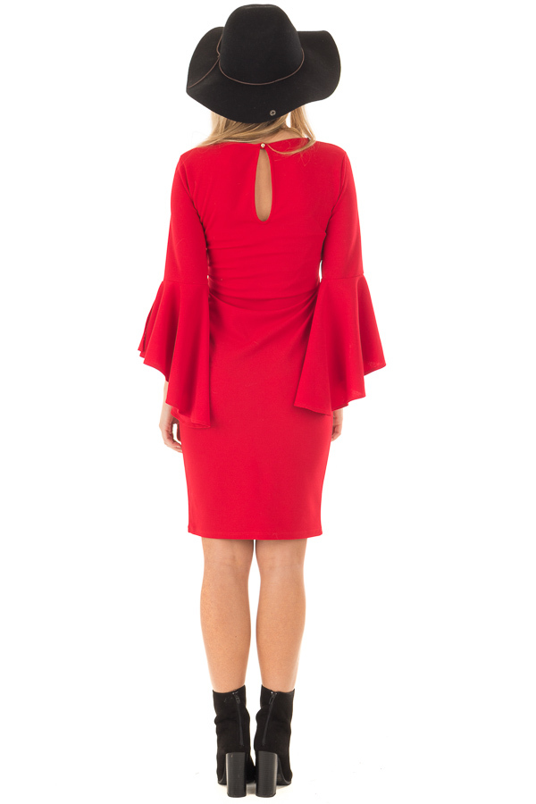Cherry Red Form Fitting Dress with Flowy Sleeves back full body