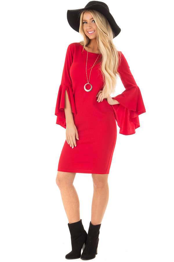 Cherry Red Form Fitting Dress with Flowy Sleeves front full body