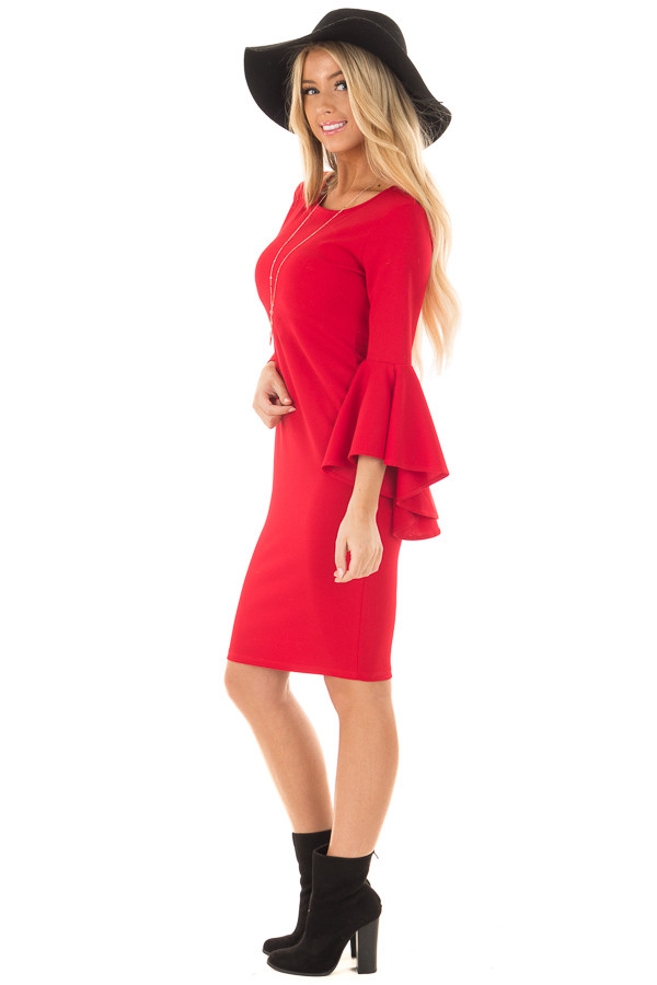 Cherry Red Form Fitting Dress with Flowy Sleeves side full body